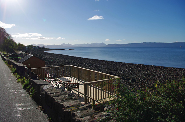 Decking with views to Skye and the Cuillin