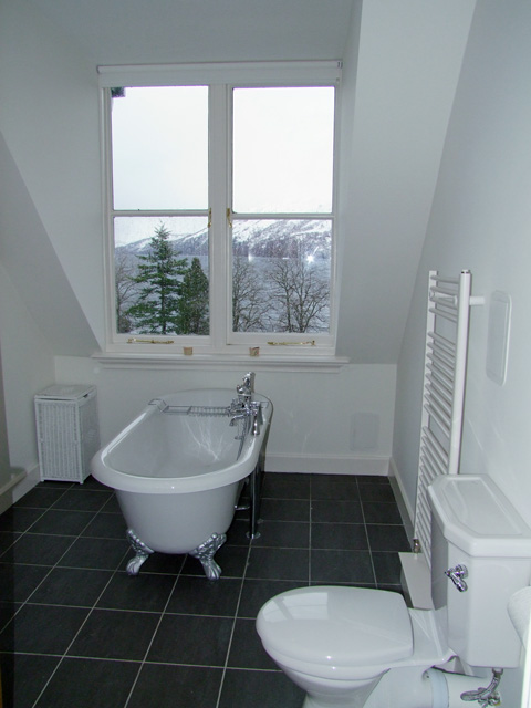 Bathroom with view of Loch Ness