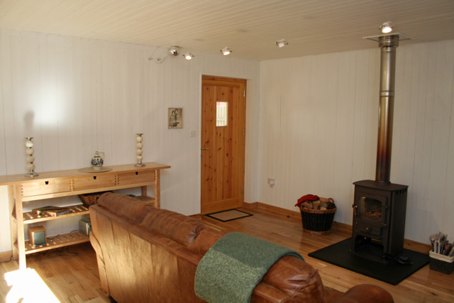 The lounge showing the wood burning stove