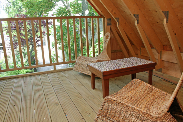 Stableman's Lodge has a few outside seating areas – this one is accessed from the bedroom.