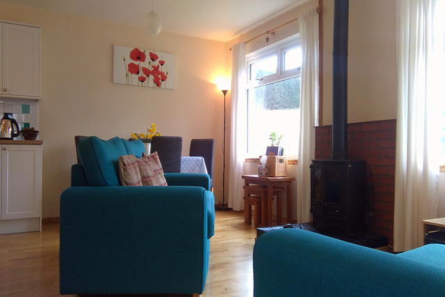 Bright sitting room with wood burner