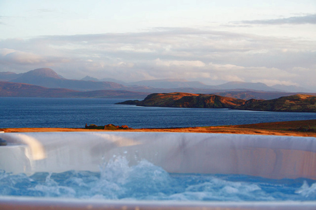 Hot tub overlooking the Summer Isles