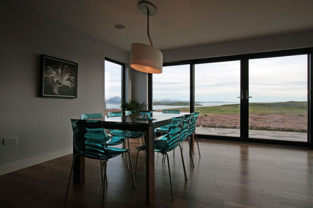 Dining area has a stunning view over the sea