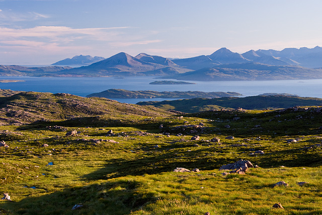 Isle of Skye and Rhum from the top of the Bealach na Ba