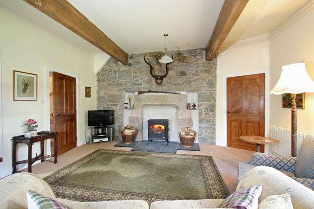 Lounge with feature stone fireplace and woodburning stove