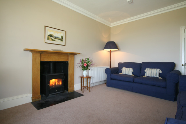 Main lounge with multi fuel stove